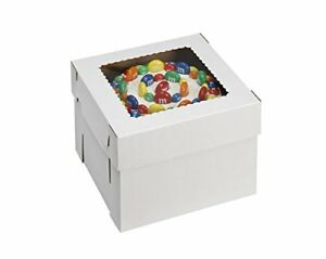 W Packaging Wpckb128 12x12x8 White kraft Plain 8 Deep Cake Box W window Pack