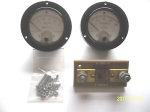 Voltmeter And Ammeter Matched Set Military 0 50 Vdc 0 80 Adc 3 1 2 with Shunt