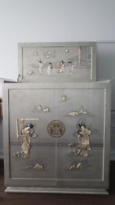 Chinese Grey Liquor Cabinet Bar Mother Of Pearl Quartz Bone Inlay Vintage
