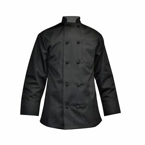 Stylish Unisex Chef Long Sleeve Coat Easy care 6 Pack Black Small