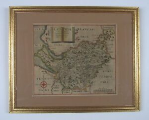 Cheshire Antique Map By Saxton Hole 1607 1st Edition
