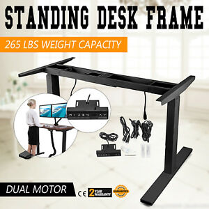 Dual Motor Electric Adjustable Base Height Sit stand Standing Desk Frame