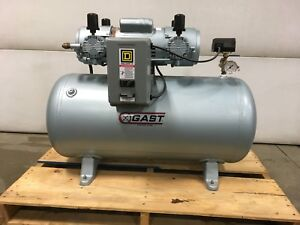 New Gast 7hdd 11ta m750x 30 Gallon Oilless Air Compressor 4 Cylinder Pump Ge Mtr