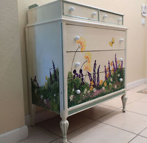 Antique Dresser Beautifully Hand Painted C F Co Continental Superior Quality