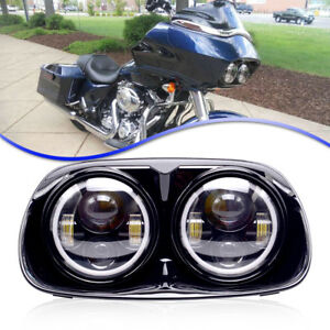 Amber 5 75 Motorcycle Black Projector Daymaker Led Light Headlight For Harley