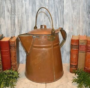 Antique Copper Kreamer Co Large Coffee Pot Brass Handled Kettle