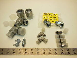 Lot Of Parker Hydraulic Fittings Assortment 90 316 Ss Male Connector