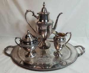 Vintage International Silver Company Castleton 4 Piece Set Coffee Or Tea Pot 801