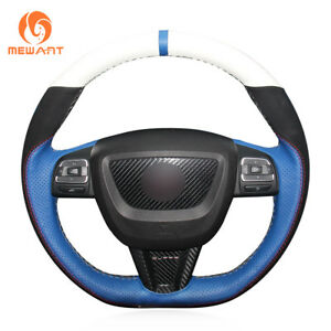 White Blue Leather Black Suede Steering Wheel Cover Wrap For Seat Leon 2009 2012