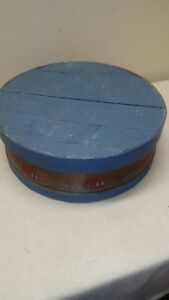 Vtg Blue Round Hand Painted Shaker Pantry Cheese Box Wood Crafts Sewing