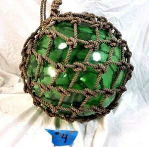 Antique Hand Blown Green Glass Mold Fishing Float Buoy Japanese 12 Tall 40 D