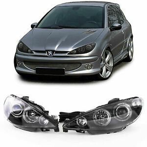 Angel Eyes Halo Headlights With Servo In Black Finish For Peugeot 206 98 02
