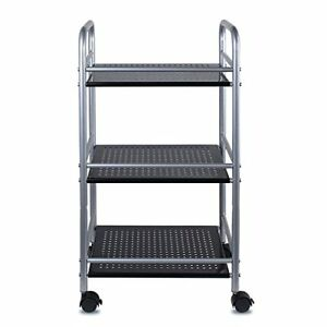 3 Tiers Metal Mesh Rolling Cart With Wheels Utility Storage Rack Shelves New