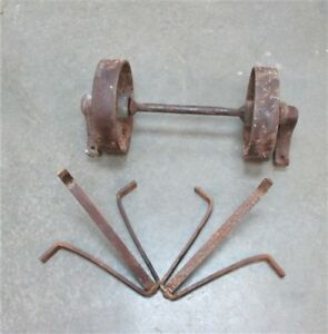 2 Steel Wheels Plus Axle Industrial Age Factory Cart Old Railroad A Free Ship Us