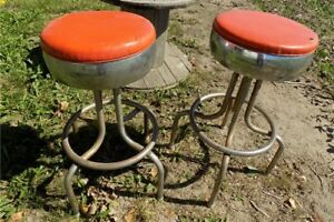 2 Swivel Stools Drug Store Soda Fountain Counter Bar Retro Kitchen Vintage A