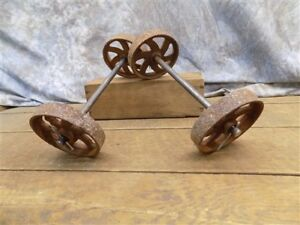 4 Factory Cart Wheels 2 Axles Cast Iron Vintage Lineberry Industrial Wheel A24
