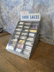 Natural Tip Shoe Laces Metal Plastic Store Counter Display Showcase Vintage Sign