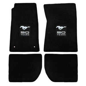 12541 Mustang Lloyd Mats Plush Floor Mat Carpeted Black With Silver 50th Anniver