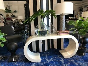 1970s Mid Century Karl Springer Style Laminate Waterfall Console Table 59 5