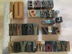Lot Of 51 Vtg Wood Metal Letterpress Print Type Blocks Alphabet Letters Numbers