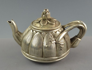 Old Chinese Tibet Silver Handmade Carved Lotus Flower Water Pot Teapot Statue