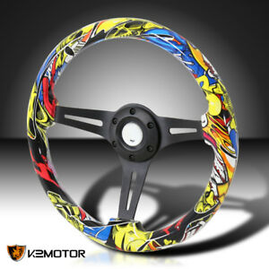 350mm 6 bolt Racing Black 3 spoke Yellow Skull Graffiti Wooden Steering Wheel