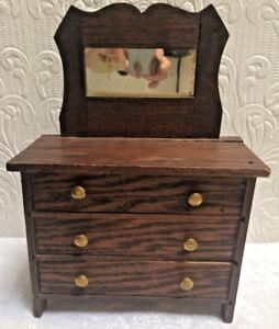 Antique Oak Arts Crafts Dated 1905 Salesman Sample Dollhouse Dresser