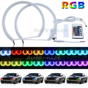 2x Cotton Light Rgb Multi color Led Angel Eyes Halo Rings For 05 09 Ford Mustang