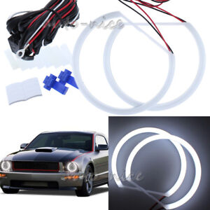 2x158mm Cotton White Led Angel Eyes Halo Rings For 05 09 Ford Mustang Headlight