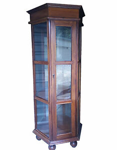 H 78 5 indonesia Large Jewelery Stand Case Display Cabinet Tower Teak Wood Glass