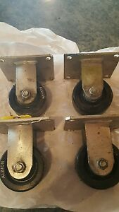 4 Wheels Lot Heavy Duty Fixed Rigid 4 Caster Wheel With Top Plate lot D