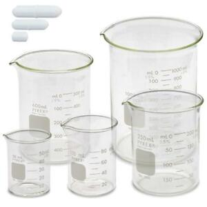 Corning Pyrex 1000 Griffin Low Form Glass Beaker Set W Magnetic Stir Bar Set