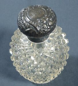 Antique English Sterling Top Cut Crystal Globe Perfume Bottle Birmingham 1902