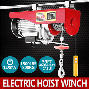 1500lbs Electric Hoist Winch Lifting Engine Crane High Carbon Cable Steel Good