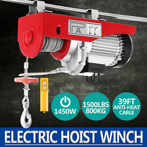 1500lbs Electric Hoist Winch Lifting Engine Crane Pulley Ceiling Steel Great