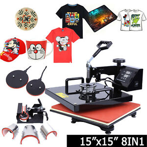 8in1 15x15 Sublimation T shirt Heat Press Transfer Mug Plate Printer Machine Diy