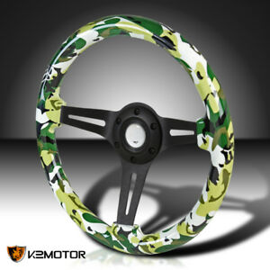 350mm Racing Black 3 Spoke Wood Camo Green Camouflage 2 Deep Dish Steering Wheel