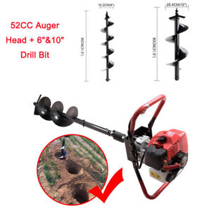 52cc Gas Auger Head 6 10 Drill Bit Earth One Man Post Hole Digger Machine