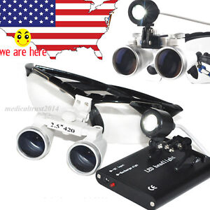 5sets Dental Surgical Medical Binocular Loupes 2 5x420 Led Head Light Lamp