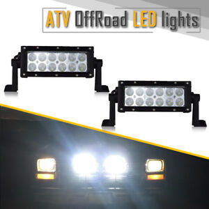 Universal 7in 36w Led Work Light Bar Flood Offroad Fog Lamp For Truck 4wd Suv X2
