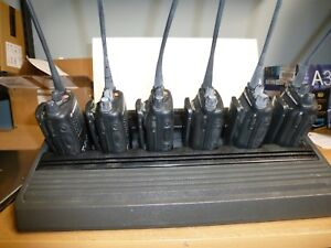 6 Motorola Ht1250 ls Radios Uhf And 6 unit Charger
