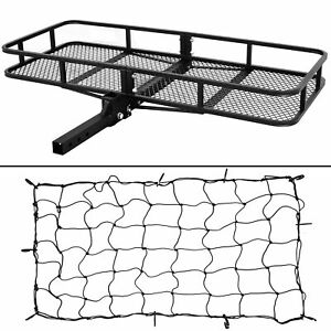 60 Cargo Carrier Hitch Mounted Receiver Hauler Luggage Basket Cargo Net