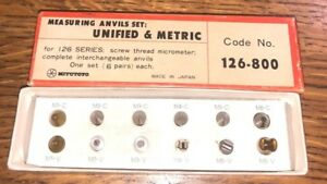 Mitutoyo Thread Point Anvil Micrometers Code No 126 800 Unified