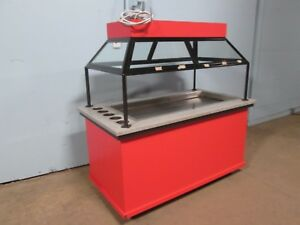 Hd Commercial Self Serve Lighted heated Hot Food Merchandiser W sneeze Guard