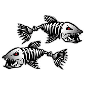 2x Skeleton Fish Vinyl Sticker Car Truck Boat Decal Fishing Digital Graphics
