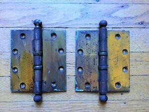 Pair 1902 Antique 4 5w X 5 0h Stanley Sweetheart Cannonball Brass Door Hinges