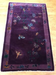Authentic Antique Handwoven Chinese Rug Size 3 X5 8 Purple Color Circa 1920 S