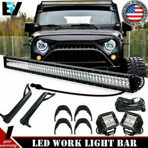 50 Led Light Bar 3 16w Upper Roof Mount Bracket For Jeep Wrangler Tj 1997 2006