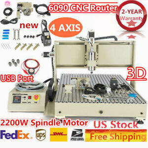 4axis Usb 6090 Cnc Router Engraving Milling Drilling Machine Engraver 2 2kw Vfd