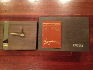 Vintage Jostens Harland Black Walnut Desk Table Clock Quartz Made In Usa